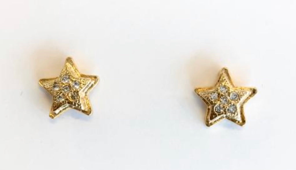 Earrings yellow gold star stud earrings with crystals - Ilumine Gallery Store dainty jewelry affordable fine jewelry