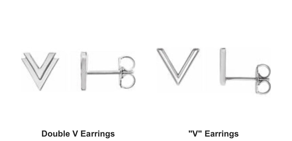 Earrings sterling silver double V and single V studs - Ilumine Gallery Store dainty jewelry affordable fine jewelry