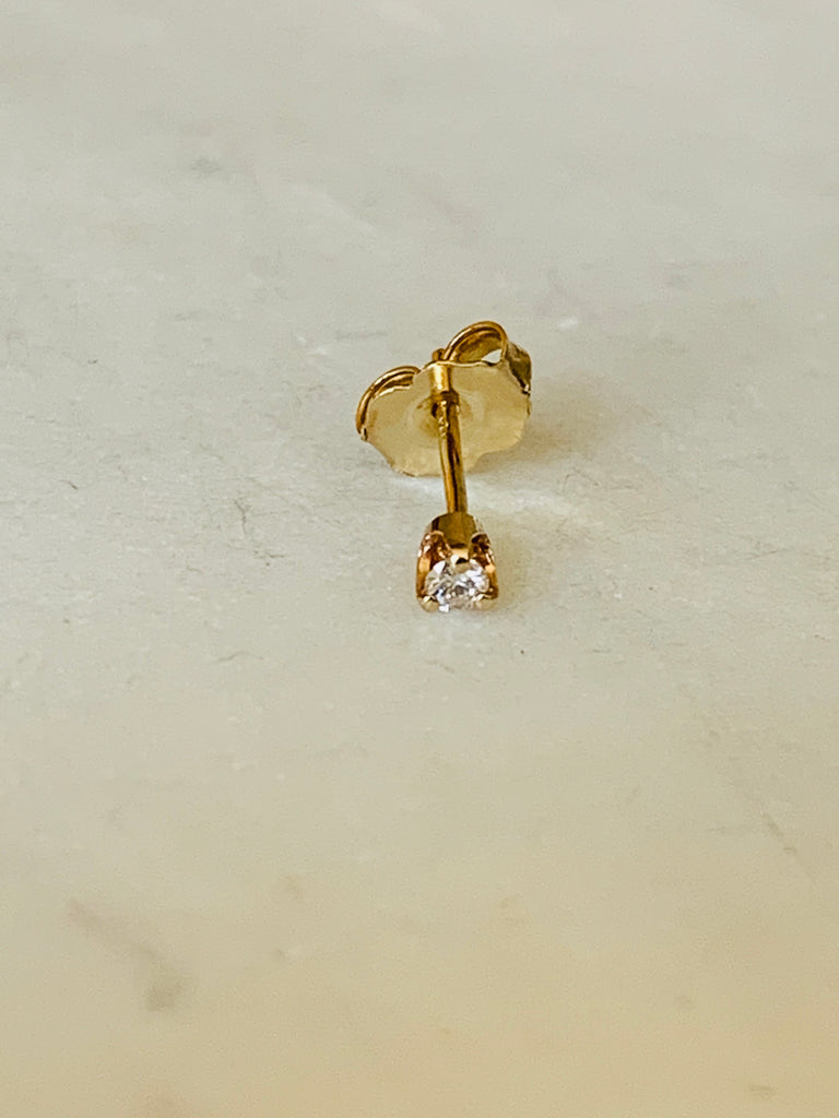 Earring solid yellow gold designer handcrafted diamond stud - Ilumine Gallery Store dainty jewelry affordable fine jewelry