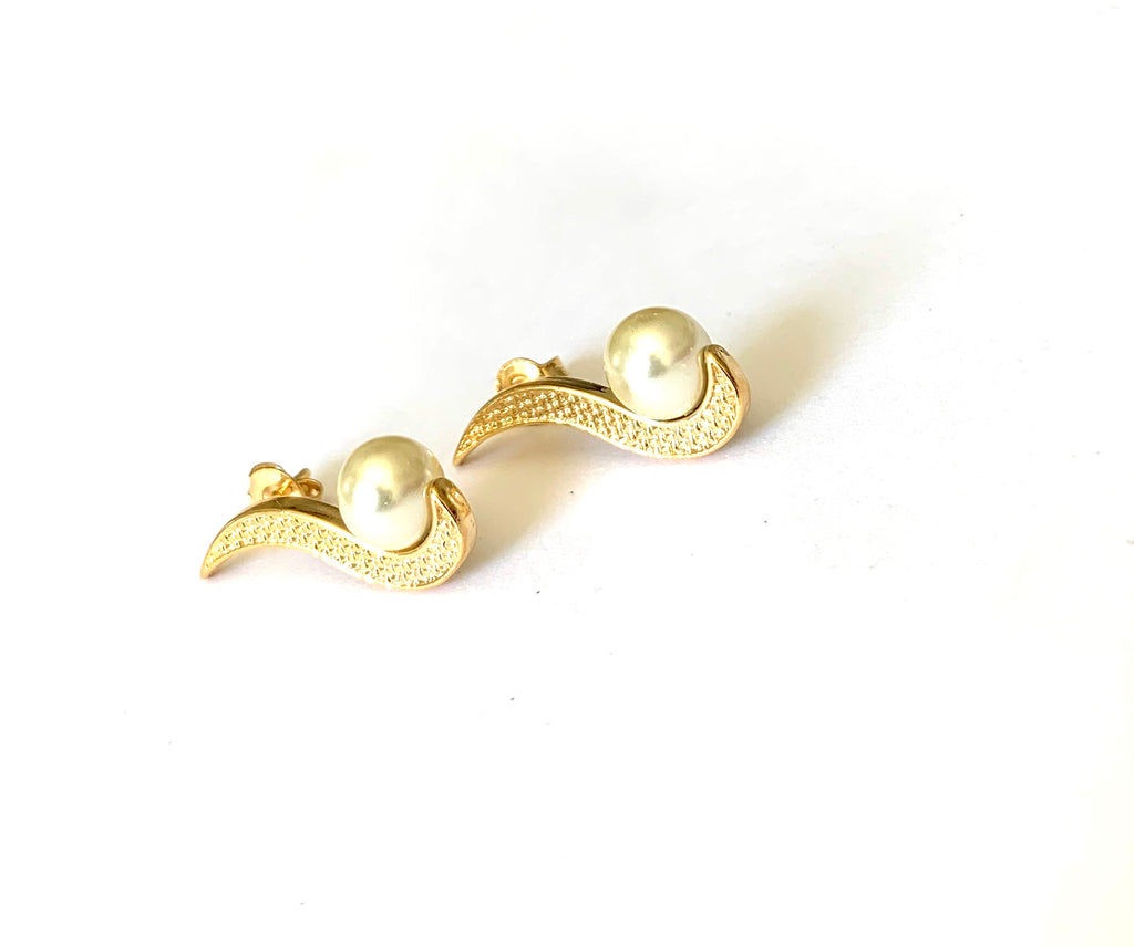 Earrings yellow gold with pearls - Ilumine Gallery Store dainty jewelry affordable fine jewelry