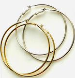 Earrings yellow gold and sterling silver hoops - Ilumine Gallery Store dainty jewelry affordable fine jewelry