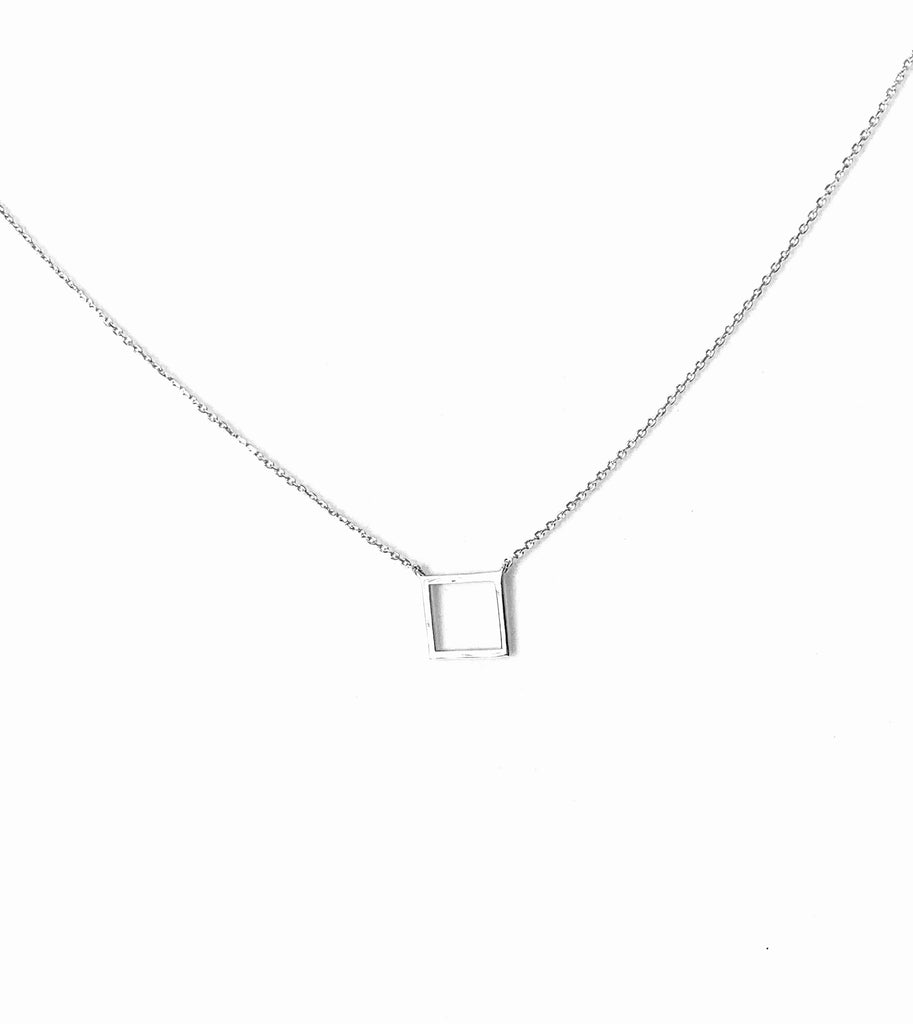 Necklace sterling silver 925 with square pendant - Ilumine Gallery Store dainty jewelry affordable fine jewelry