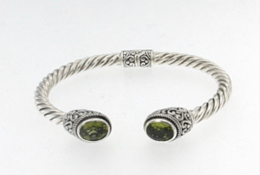 Sterling Sliver Cable Bangle With Gemstones - Ilumine Gallery Store