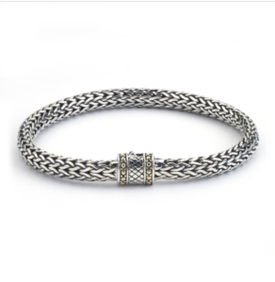 Bracelet sterling silver 18 kt gold with cris cross lock - Ilumine Gallery Store