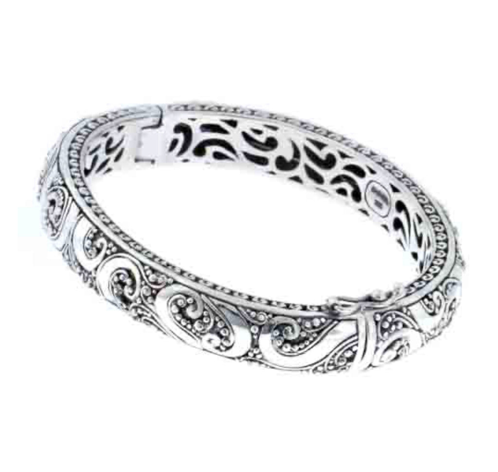 Bracelet sterling silver designer oval bangle - Ilumine Gallery Store
