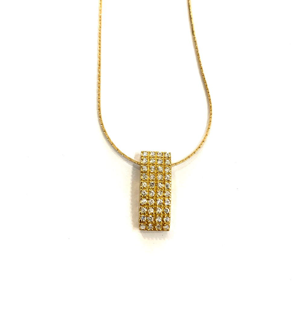 Gold rectangle crystal pendant necklace