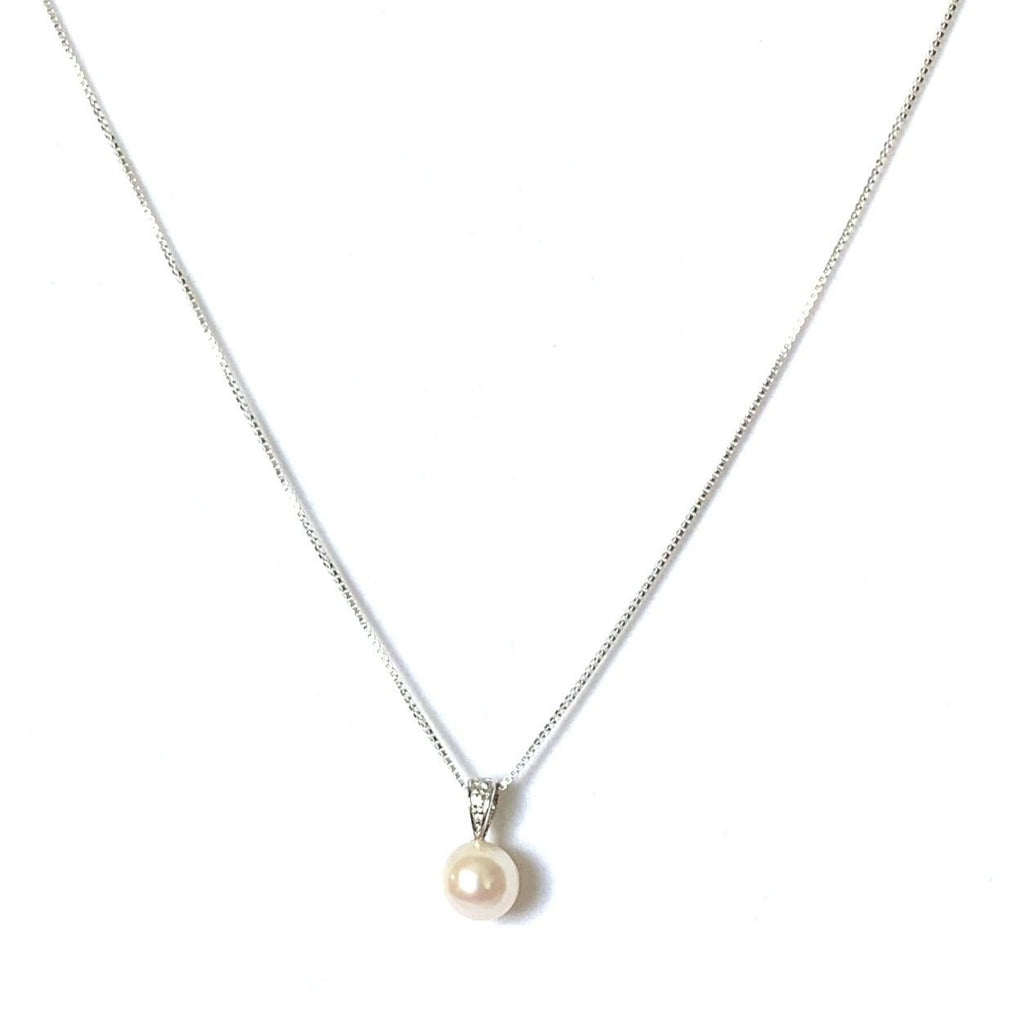 Necklace sterling silver freshwater pink pearl - Ilumine Gallery Store dainty jewelry affordable fine jewelry