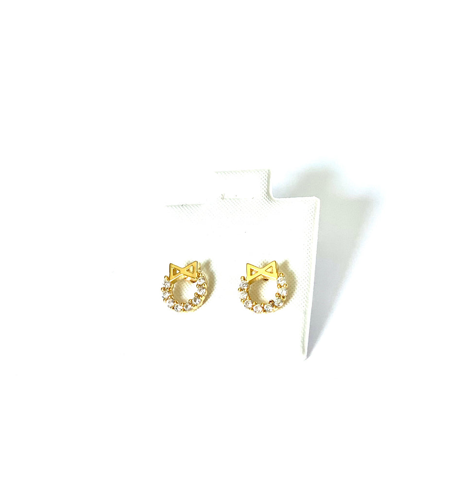 Earrings yellow gold vermeil circle with ribbon and crystal studs - Ilumine Gallery Store dainty jewelry affordable fine jewelry