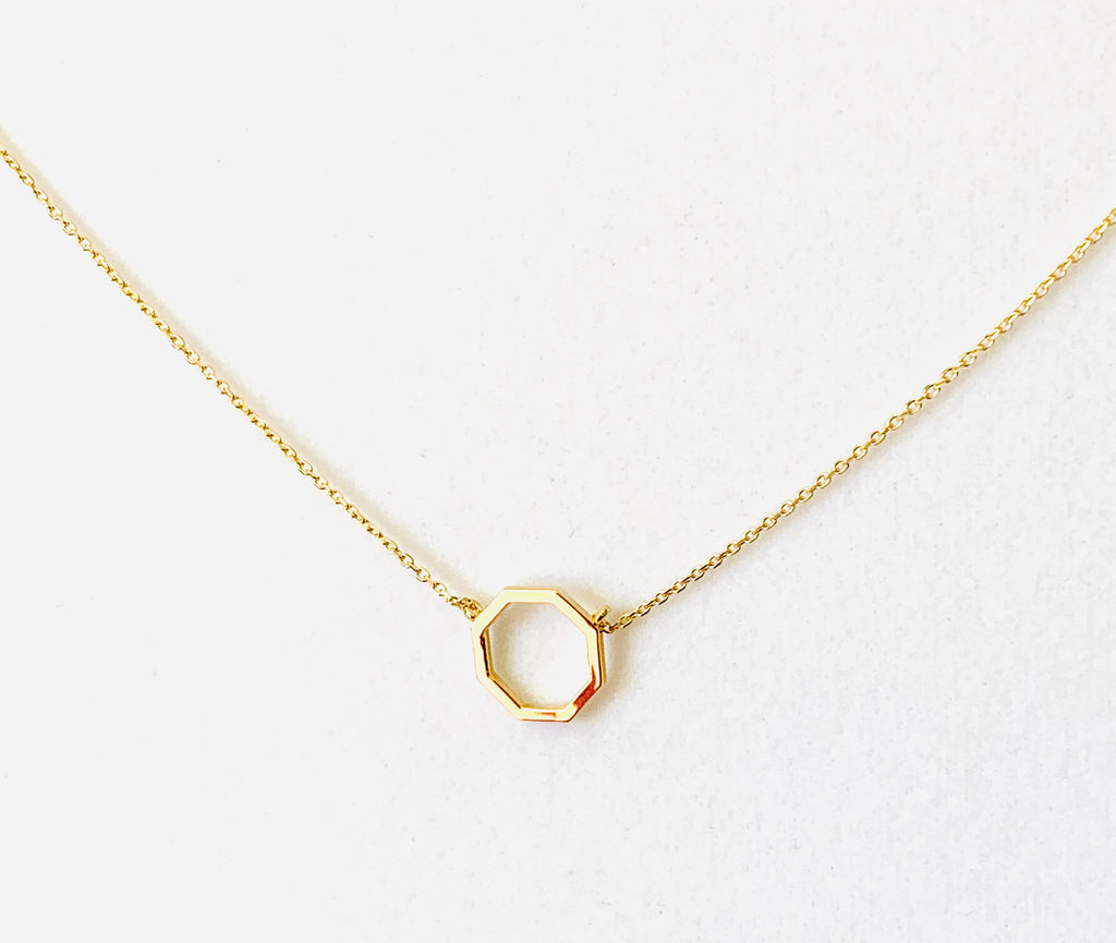 Necklace yellow gold vermeil with octagon pendant - Ilumine Gallery Store dainty jewelry affordable fine jewelry