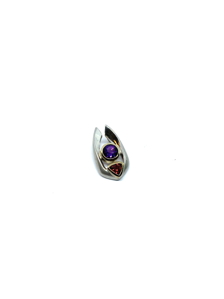 Amethyst and ruby gemstones pendant - Ilumine Gallery Store dainty jewelry affordable fine jewelry