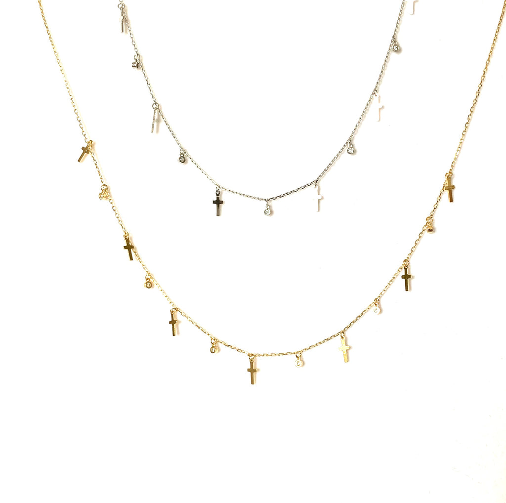 Gold or sterling silver necklace with crosses and  sim diamonds - Ilumine Gallery Store dainty jewelry affordable fine jewelry