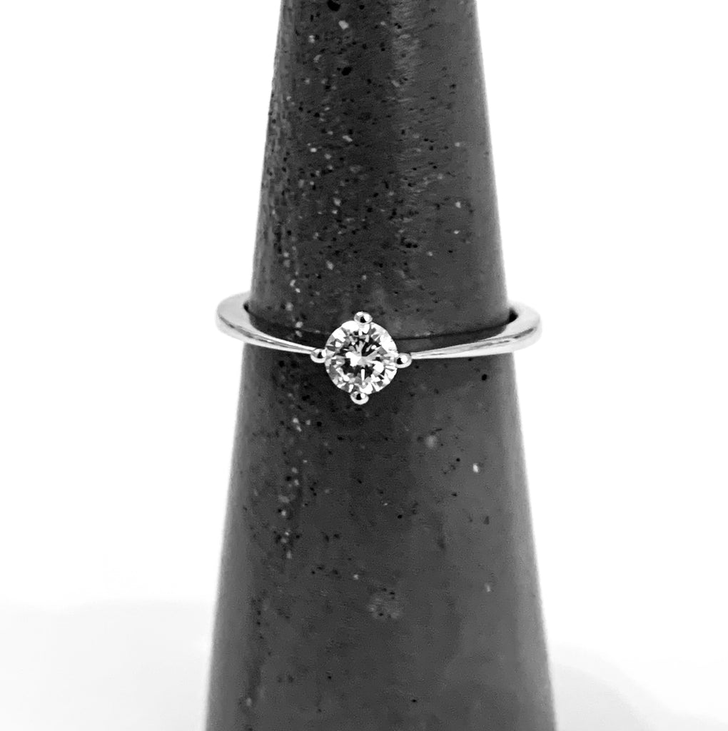 Ring solid white gold diamond engagement ring - Ilumine Gallery Store dainty jewelry affordable fine jewelry