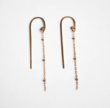 Earrings gold long threader earrings - Ilumine Gallery Store dainty jewelry affordable fine jewelry