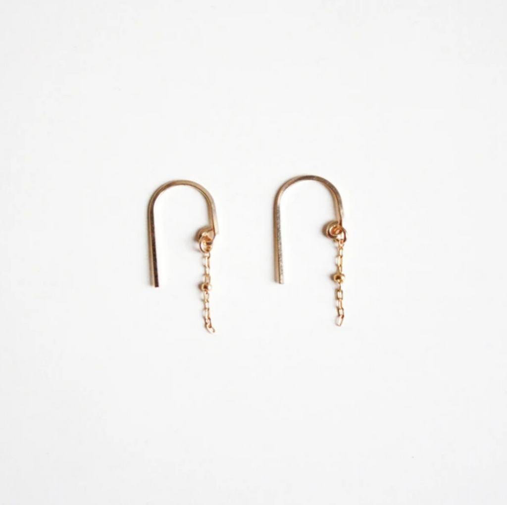 Earrings gold short threader earrings - Ilumine Gallery Store dainty jewelry affordable fine jewelry