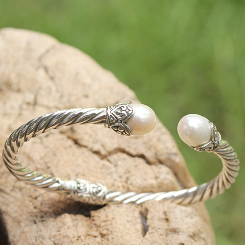 Bracelet handcrafted sterling silver hinged cable bangle with pearls - Ilumine Gallery Store dainty jewelry affordable fine jewelry