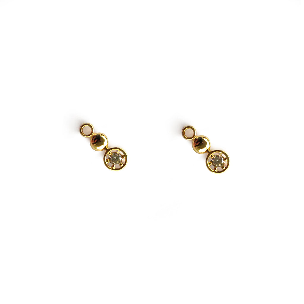 Earrings yellow gold circle trio studs with cz - Ilumine Gallery Store dainty jewelry affordable fine jewelry
