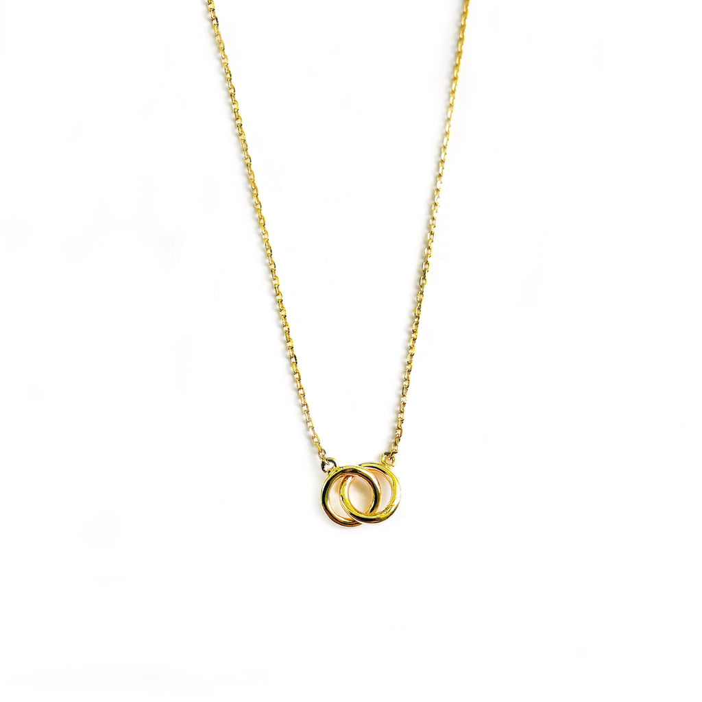 Yellow gold double circle necklace - Ilumine Gallery Store dainty jewelry affordable fine jewelry