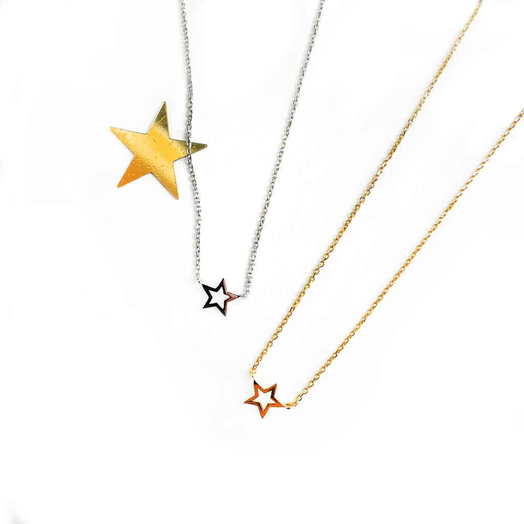 Sterling silver star outline necklace - Ilumine Gallery Store dainty jewelry affordable fine jewelry