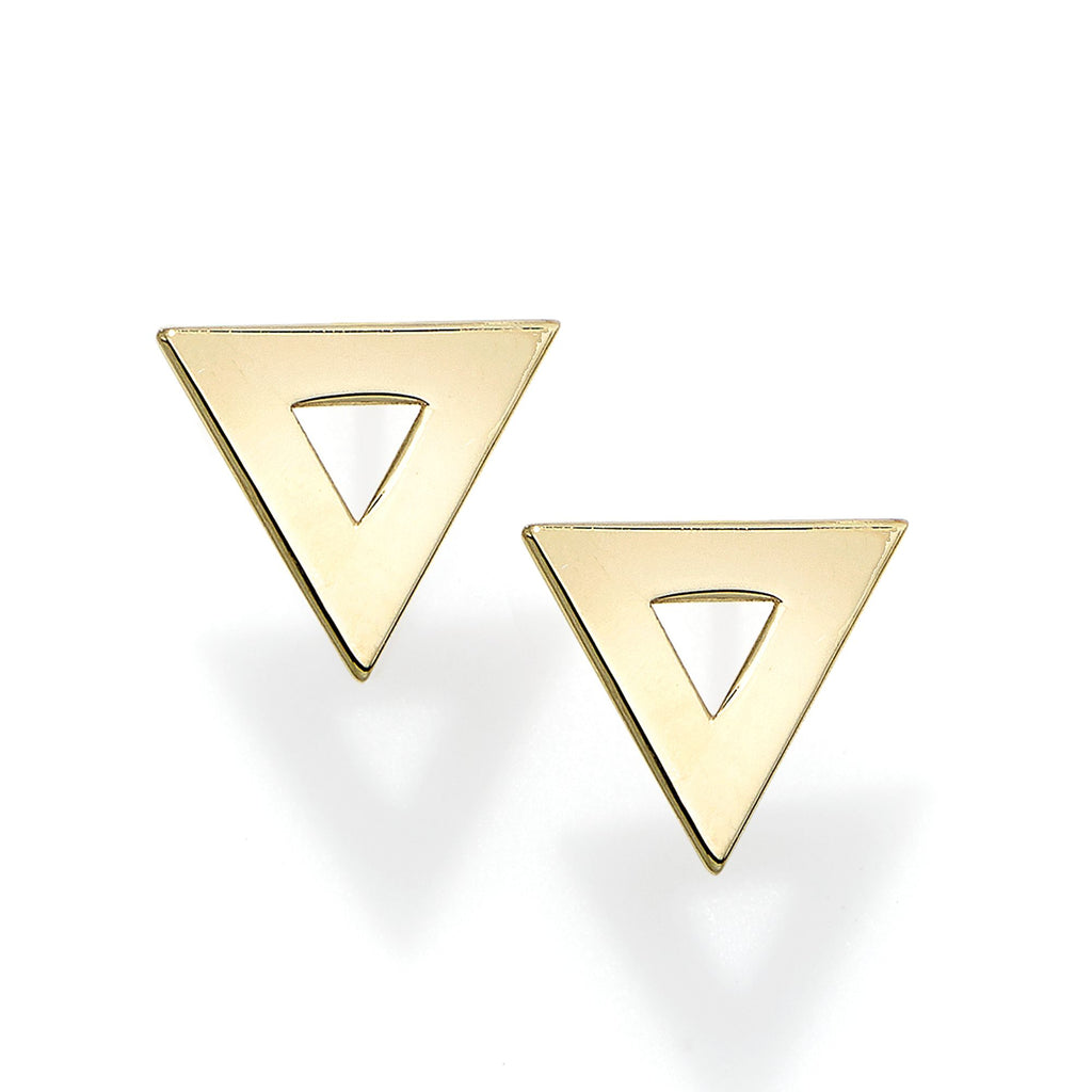 Solid gold triangle studs - Ilumine Gallery Store dainty jewelry affordable fine jewelry