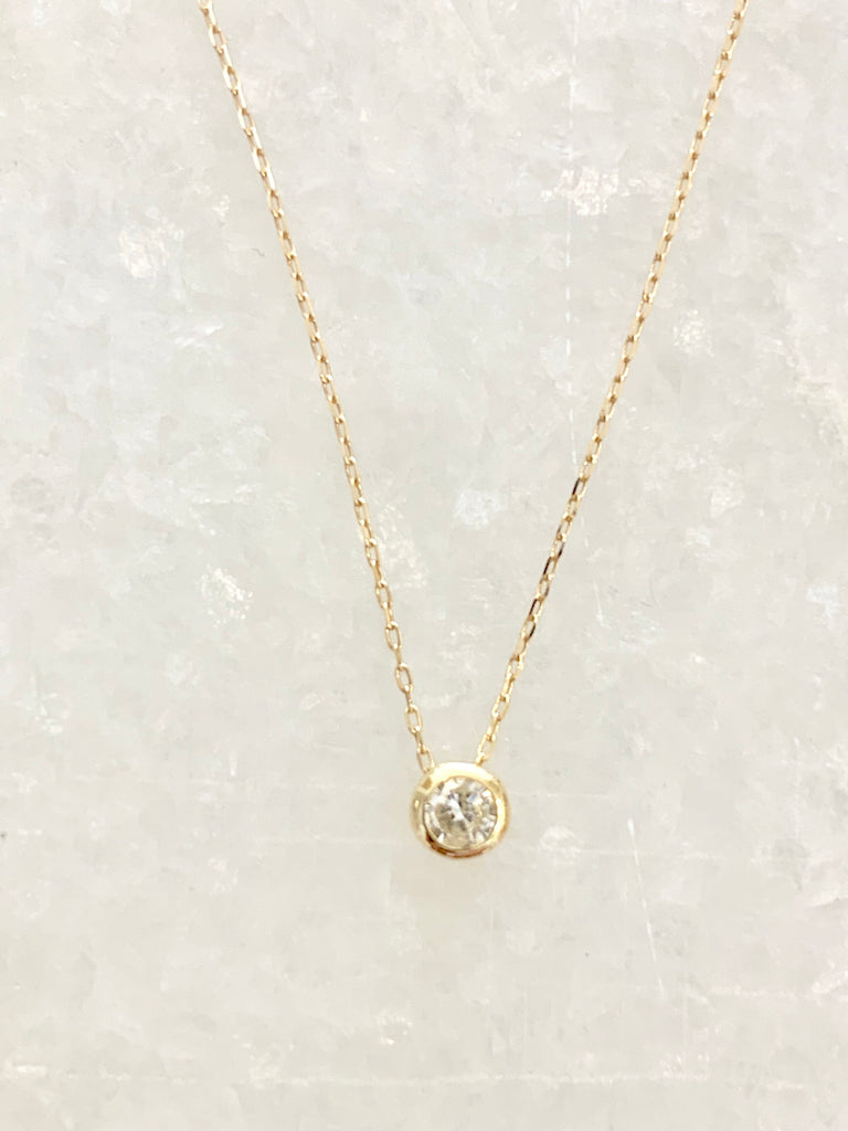 Solid gold chain with floating diamond - Ilumine Gallery Store dainty jewelry affordable fine jewelry