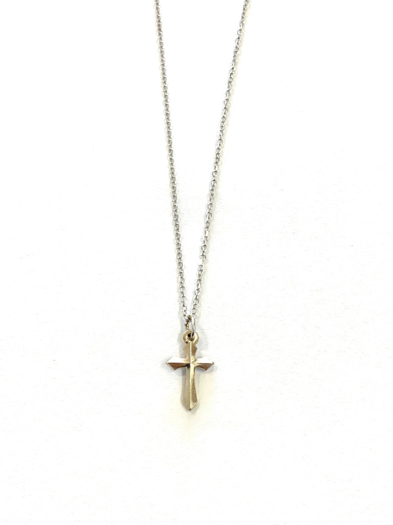 Solid white gold cross necklace - Ilumine Gallery Store dainty jewelry affordable fine jewelry