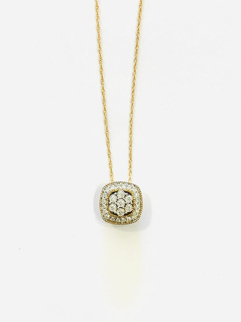 Gold and diamond cushion necklace - Ilumine' Gallery