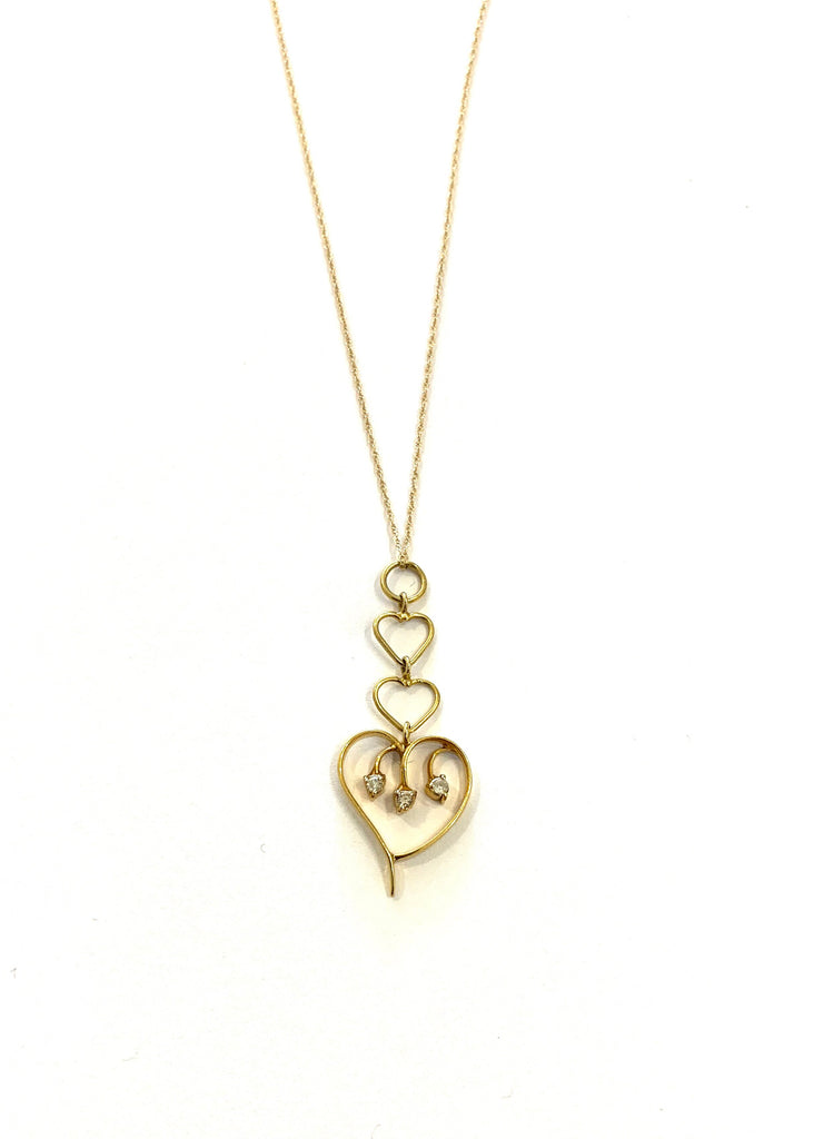 Solid yellow gold diamond heart necklace - Ilumine' Gallery