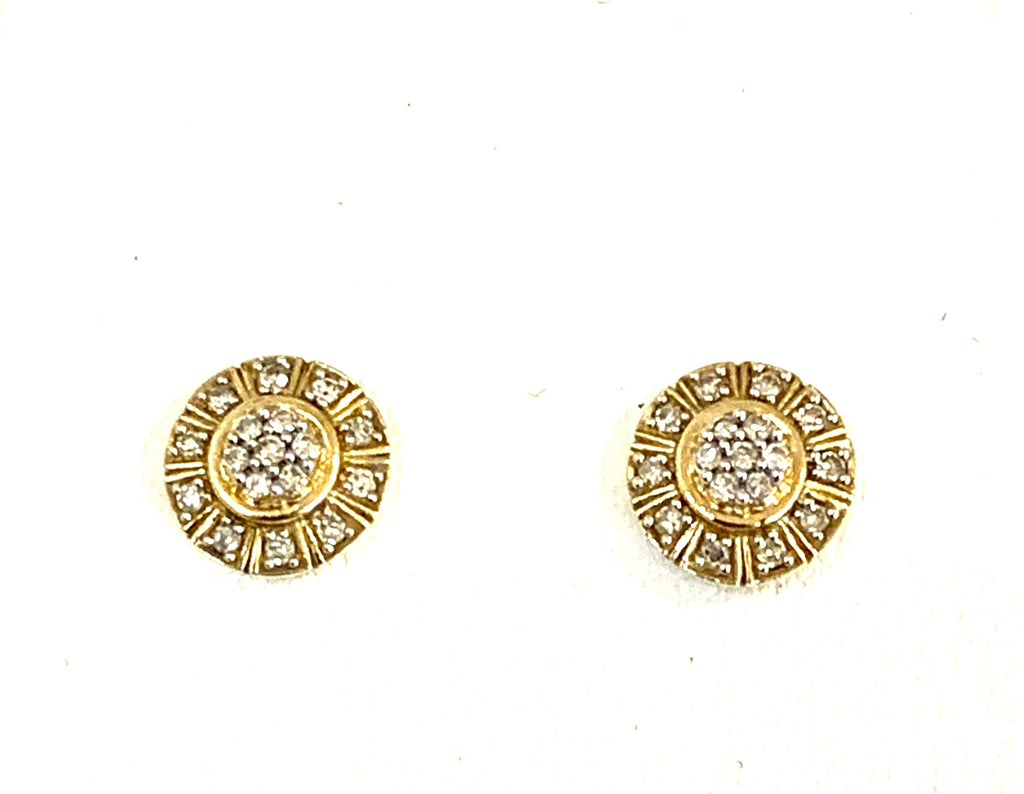 Solid yellow gold diamond earrings - Ilumine Gallery Store dainty jewelry affordable fine jewelry