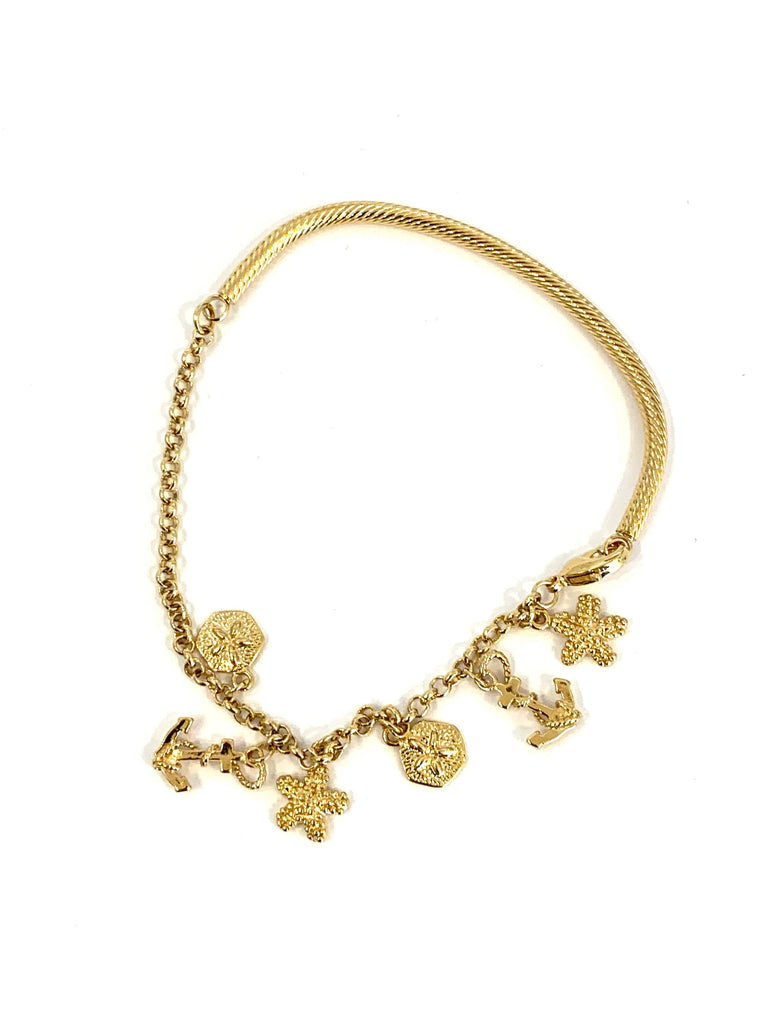 Bracelet yellow gold rhodium anchor & starfish bracelet - Ilumine Gallery Store