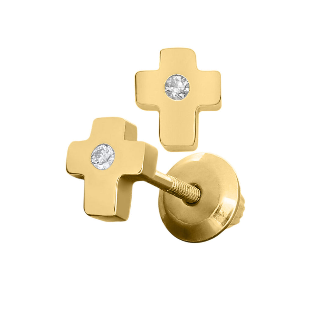 Solid yellow gold and diamond cross earrings - Ilumine Gallery Store dainty jewelry affordable fine jewelry