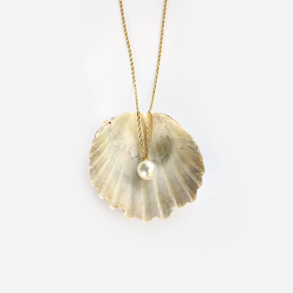 Gold or sterling silver pearl drop necklace - Ilumine' Gallery