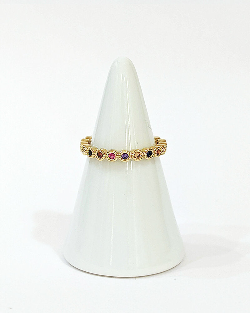Yellow gold multi colored gemstones band ring - Ilumine Gallery Store dainty jewelry affordable fine jewelry