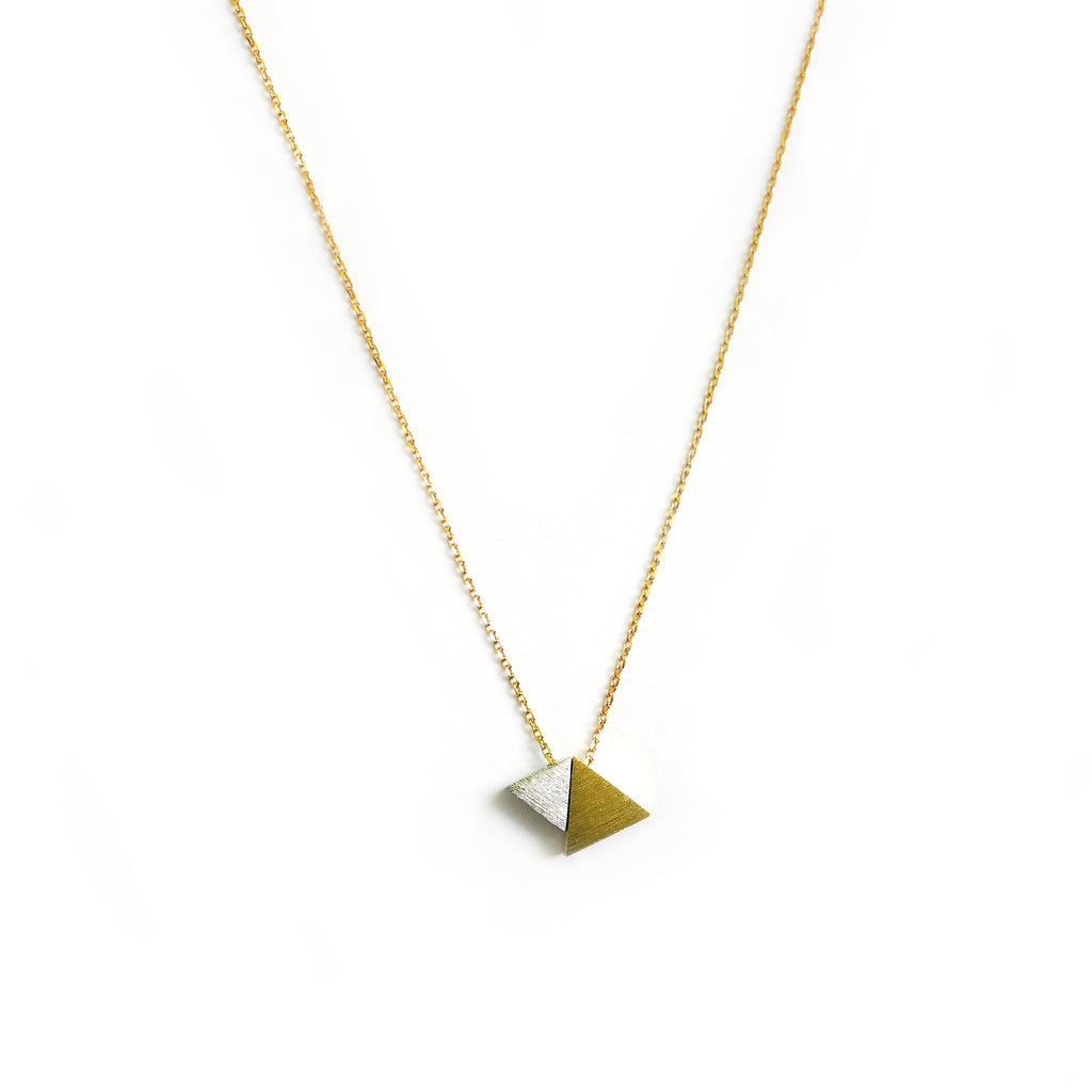Gold and silver two tone triangle pendant - Ilumine Gallery Store dainty jewelry affordable fine jewelry