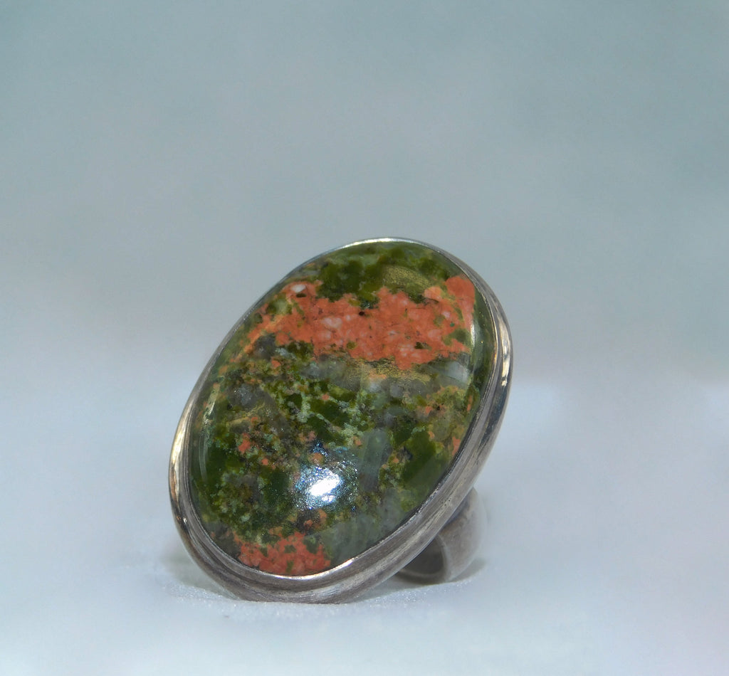Sterling Silver 925 and Unakite Gemstone Ring - Ilumine Gallery Store dainty jewelry affordable fine jewelry