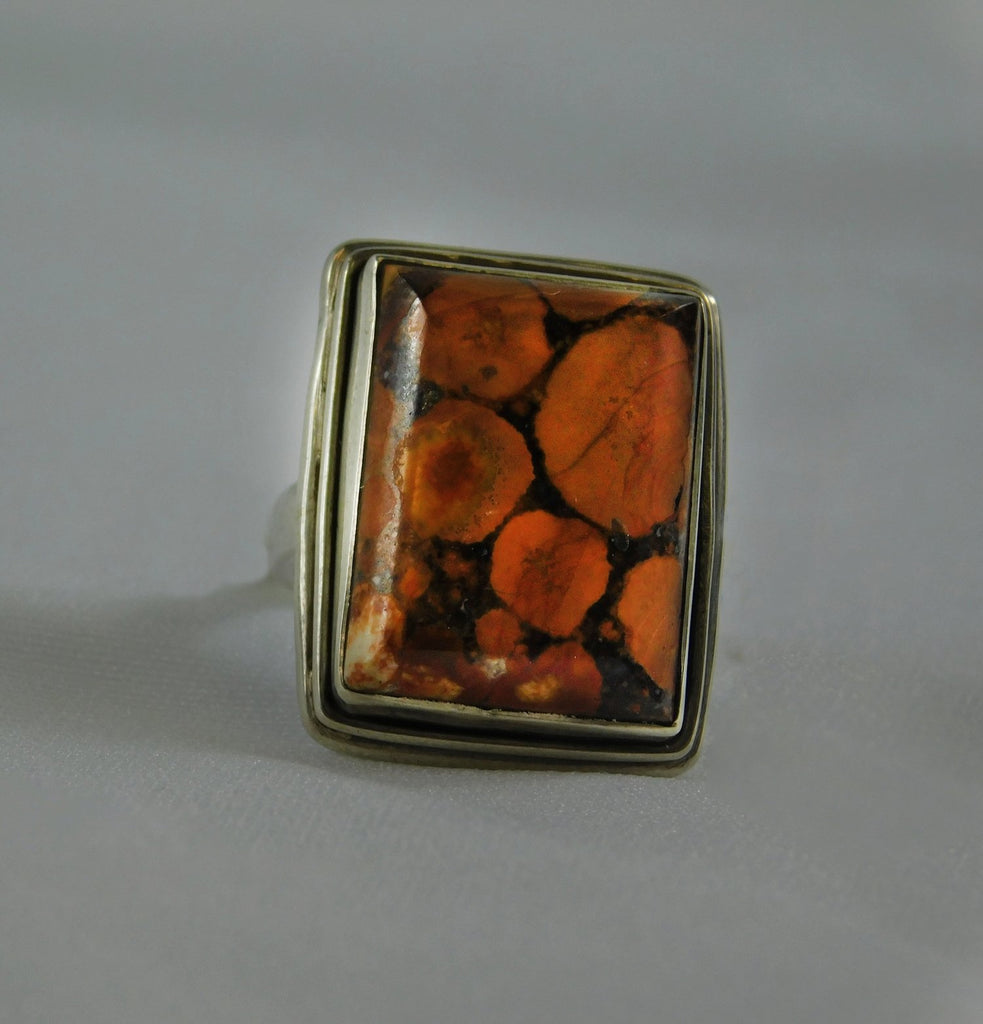 SS 925 with Leopard Skin Jasper Gemstone Ring - Ilumine Gallery Store