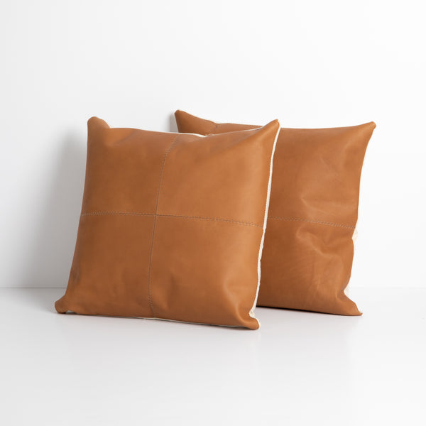 Sandro Leather Pillow - Whiskey