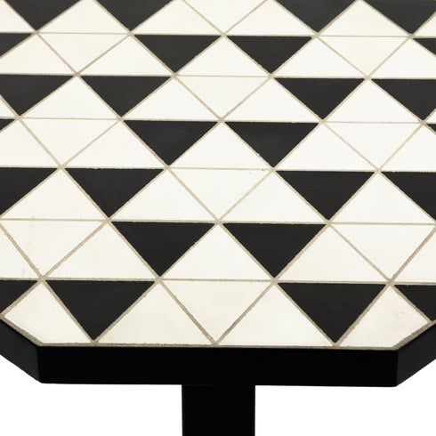 TROY OUTDOOR END TABLE-BLACK & WHITE