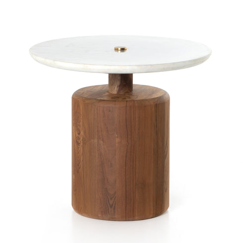 RONDELL END TABLE-HONED WHITE MARBLE