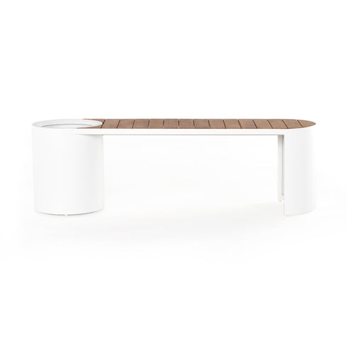 KYLEN OUTDOOR BENCH W/PLANTER-WHITE
