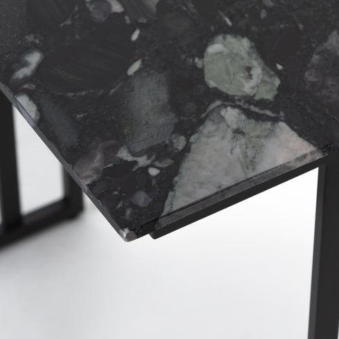 DANILO END TABLE-MULTI BLACK MARBLE