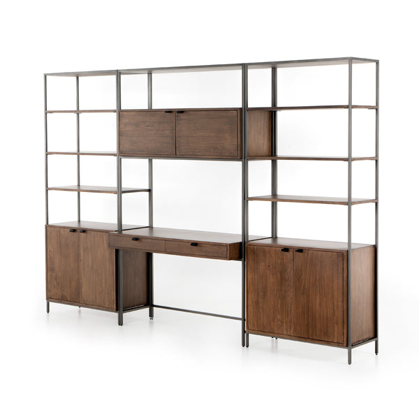 TREY MODULAR WALL DESK W/ 2 BOOKCASES