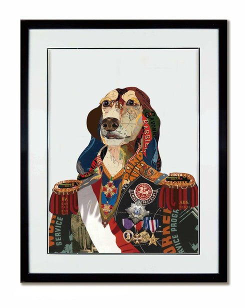 Dog General Collage Art with Black Frame