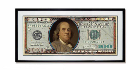One Hundred US Dollar Collage Art with Black Frame