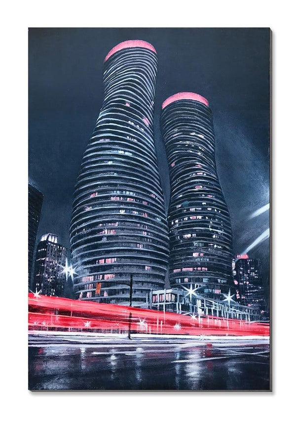 Monroe Towers Night View - 50% Hand Painted