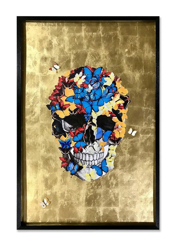 Skull Butterfly Golden background Shadowbox with Black Frame