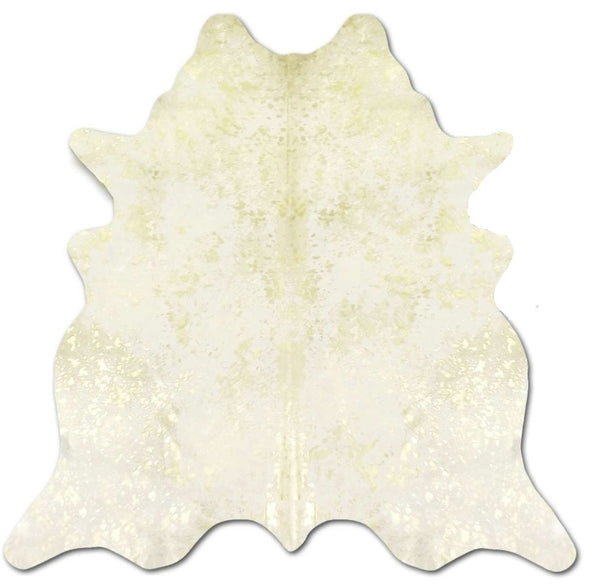 White with Gold Metallic Cowhide