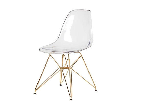 Eiffel Dining Chair - Acrylic Seat with Gold Legs