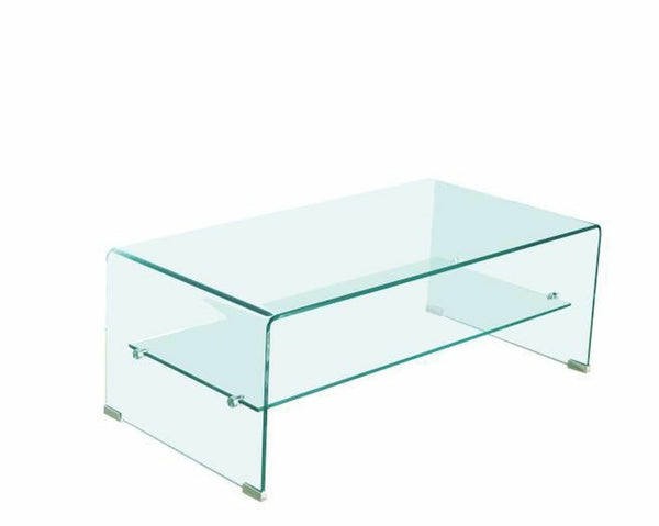 Waterfall Coffee Table with Glass Top Shelf