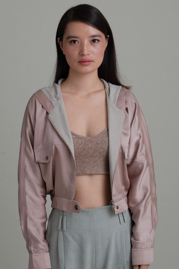 SATIN BLUSH BOMBER JACKET
