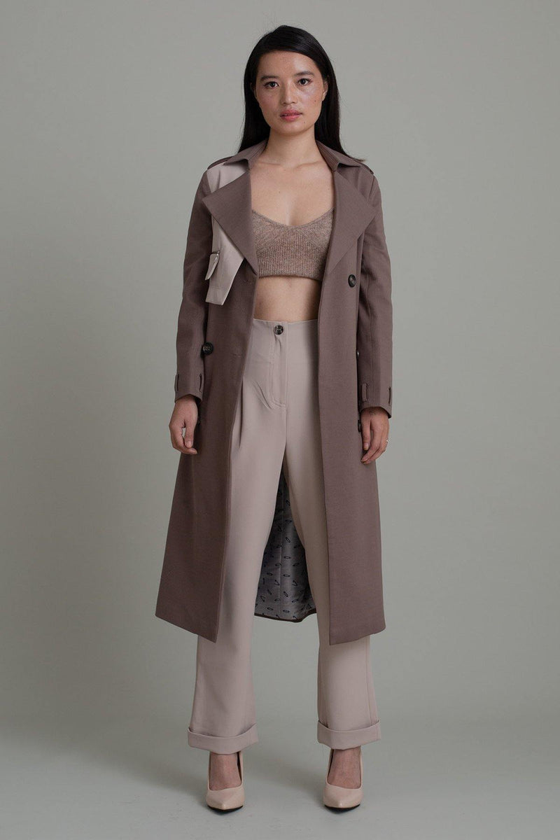 ASH COLORBLOCK TRENCH COAT